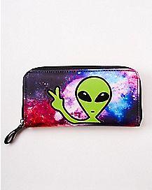 Alien Head Galaxy Zip Wallet