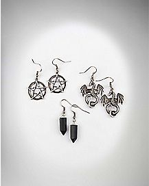 Black Crystal Pentagram Dangle Earring 3 Pack