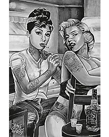Tattoo Pin UP Audrey Hepburn And Marilyn Monroe Poster