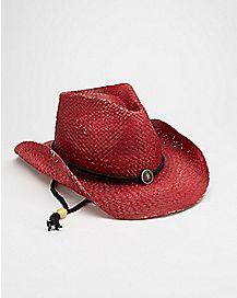 Long Strap Maroon Cowboy Hat