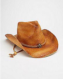 Long Strap Tan Cowboy Hat