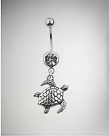 CZ Turtle Belly Ring - 14 Gauge