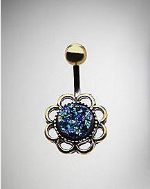 Blue Opal-Effect Flower Belly Ring - 14 Gauge