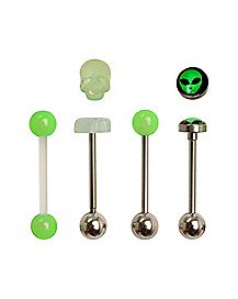 Green Glow In The Dark Barbell 4 Pack - 14 Gauge