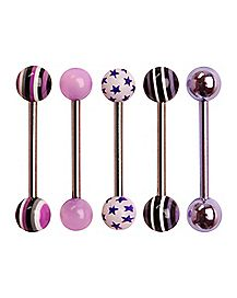 Pink & Purple Star Barbell 5 Pack - 14 Gauge