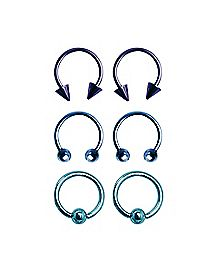 Blue Horseshoe Captive Hoop Ring 6 Pack - 16 Gauge