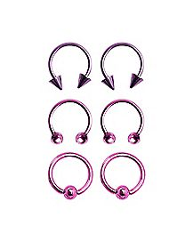 Pink Horseshoe Captive Hoop Lip Ring 6 Pack - 16 Gauge
