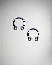 14 Gauge Blue CZ Horseshoe Rings