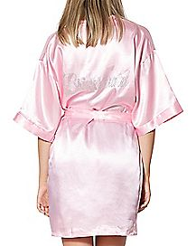 Satin Rhinestone Bridesmaid Robe