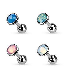 Opal-Effect Cartilage Stud Earrings 4 Pack - 16 Gauge