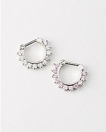 14 Gauge Pink CZ Cartilage Clicker 2 Pack
