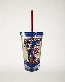 Captain America Marvel Cup With Straw - 16 oz.