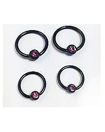14-16 Gauge Black Pink CZ Captive Ring 4 Pack