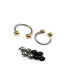 Horseshoe Barbell Ring with Inerchangeable Balls - 14 Gauge