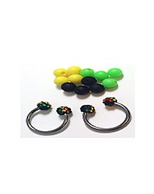 Rasta Horseshoe Rings with Interchangeable Balls - 14 Gauge