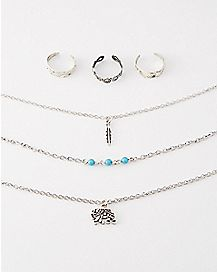 Elephant Charm Anklet Toe Ring 6 Pack