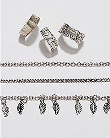 Feather Anklet Toe Ring Set