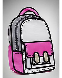 Pink and White Cartoon Backpack