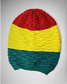 Rasta Stripe Slouch Beanie Hat