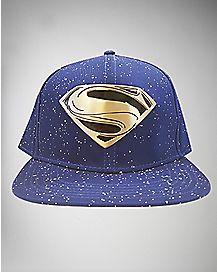Metal Badge Superman Snapback Hat