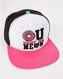 Donut U Want Meow Snapback Hat