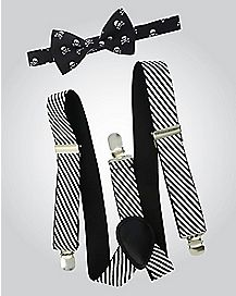 Skull Striped Bow Tie Suspender Set