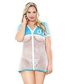Plus Size Mesh Football Jersey Babydoll and G-String Panties Set