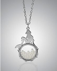 Ariel Silhouette Shaker The Little Mermaid Pendant Neckalce