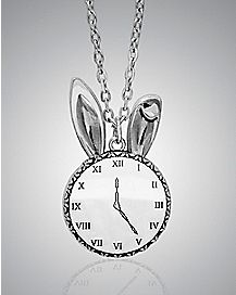 White Rabbit Clock Pendant Alice In Wonderland Necklace