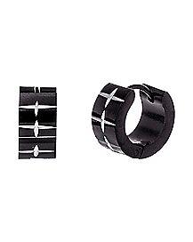 Black Diamond Etched Huggie Hoop Earrings