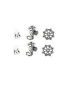 Seahorse Wheel CZ Stud Earring 3 Pack