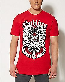 4:20 By Sublime Skeleton Smoke 2 Joints T shirt