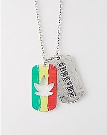 4:20 By Sublime Rasta Leaf Dog Tag Necklace