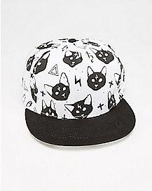 Black Cat Cross Snapback Hat