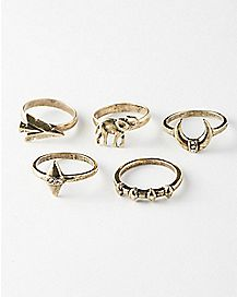 Gold Elephant Moon Ring 5 Pack