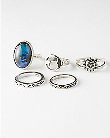 Sun Moon Mood Ring 5 Pack