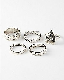 Silver Witch Moon Phase Ring 5 Pack