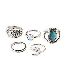 Yin Yang Moon Opal-Effect Ring 5 Pack