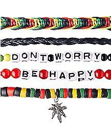 Don't Worry Be Happy Rasta Bracelet 5 Pack