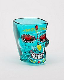 Tinted Sugar Skull Shot Glass - 2 oz.