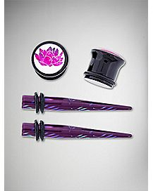 Purple & Pink Flower Plug Taper 4 Pack