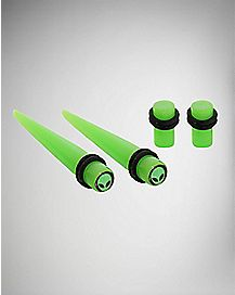 Glow In The Dark Alien Taper Plug 4 Pack