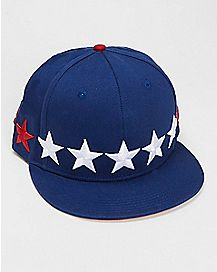 Red White & Blue Star Snapback Hat