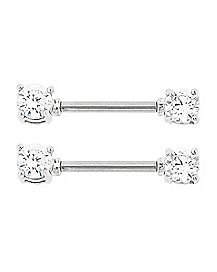 Clear CZ Square Nipple Rings - 14 Gauge