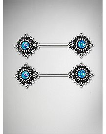 Opal-Effect Tribal Sun Nipple Ring - 14 Gauge