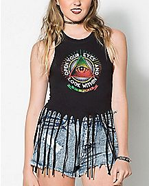 Open Your Eyes Bob Marley Fringe Tank