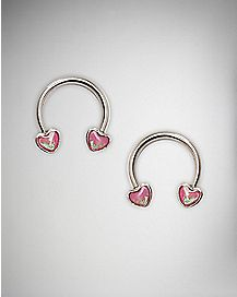 Pink Opal-Effect Heart Horseshoe Barbell Nipple Ring- 14 Gauge