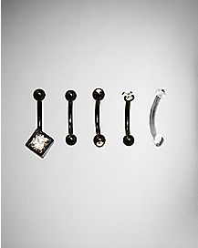 16 Gauge Black CZ Curved Eyebrow Ring 6 Pack