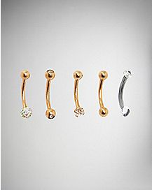 16 Gauge CZ Curved Eyebrow Ring 5 Pack