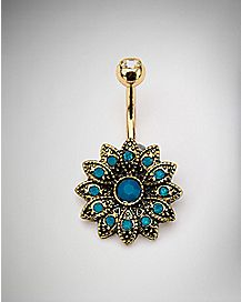 Blue Opal-Effect CZ Flower Belly Ring - 14 Gauge